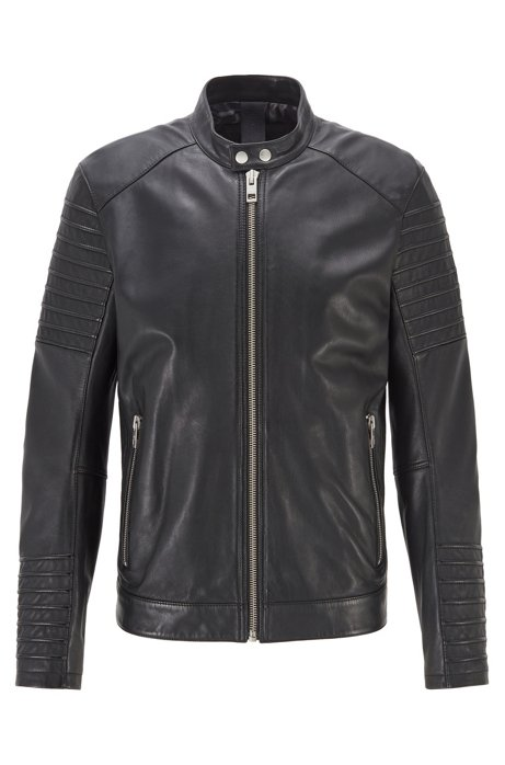 Slim-fit jacket in hand-treated sheep leather, Black