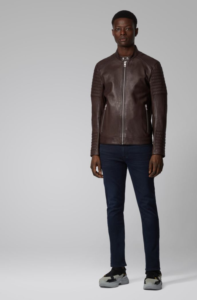 Slim-fit jacket in hand-treated sheep leather