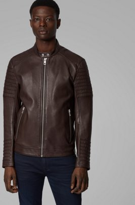Slim-fit jacket in hand-treated sheep leather, Dark Brown