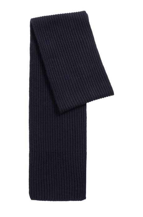 Fashion Show cardigan-stitched scarf in merino wool, Dark Blue