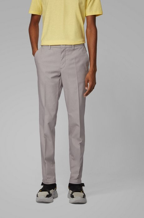 Tapered-fit chinos in a cotton blend, Silver