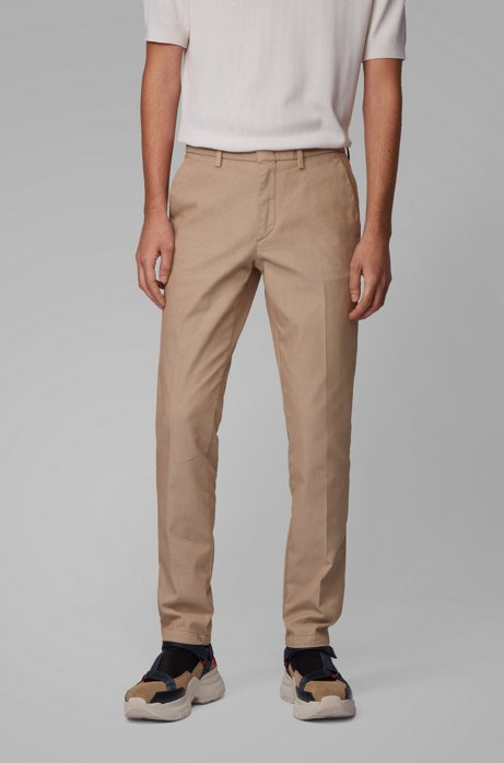 Tapered-fit chinos in a cotton blend, Light Brown