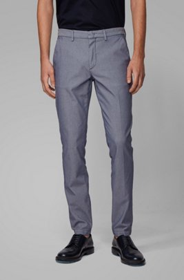 Tapered-fit chinos in a cotton blend, Dark Blue