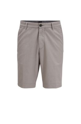 Slim-fit short van gestructureerd stretchmateriaal, Grijs