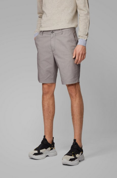 Slim-Fit Shorts aus strukturiertem Stretch-Gewebe, Grau