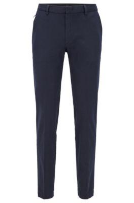 Slim-fit chinos in cotton-blend twill, Dark Blue