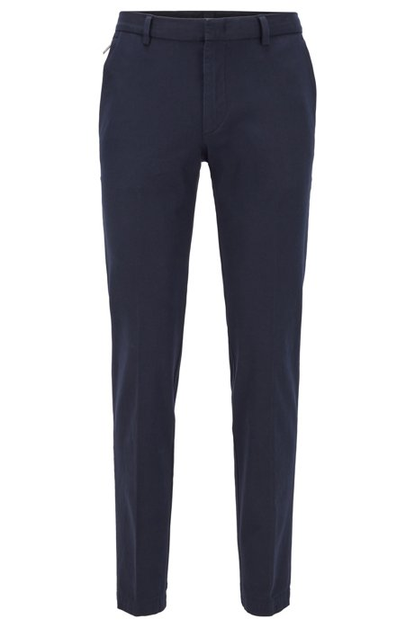 Slim-fit chinos in cotton-blend twill, Dark Blue