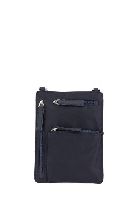 Bolso tipo sobre en nylon italiano con correa trenzada, Azul oscuro