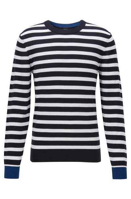 Striped sweater in soft cotton, Dark Blue