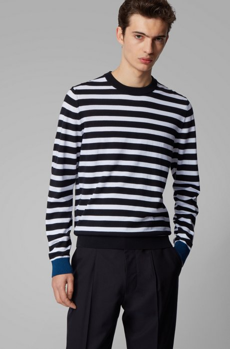 Gestreifter Pullover aus softer Baumwolle, Dunkelblau