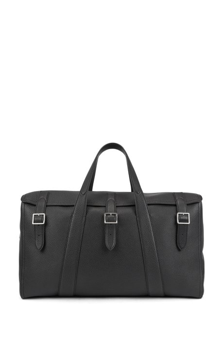 Grained leather holdall with buckle detail, Black