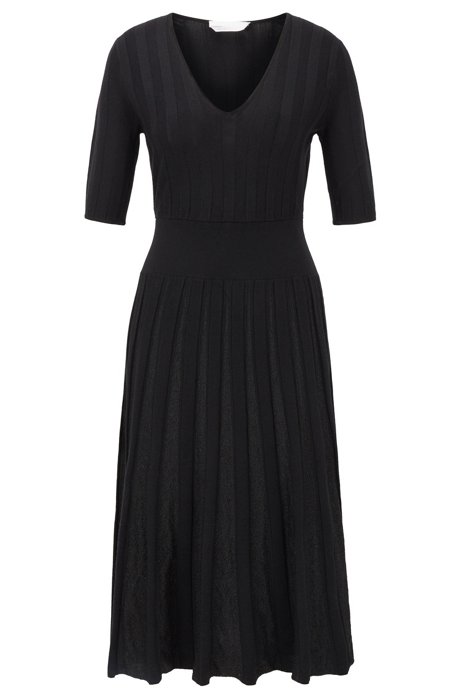 Short-sleeved dress with sparkly pleated skirt, Black