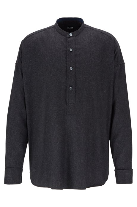 Relaxed-fit flannel shirt with cashmere, Dark Grey