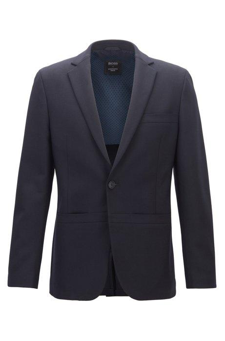 Limited Edition Slim-Fit Sakko aus elastischem Schurwoll-Jersey aus der BOSS x Konstantin Grcic Kollektion, Dunkelblau