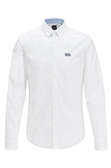Regular-fit overhemd van vochtregulerende stretchkatoen, Wit