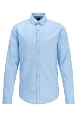Regular-fit overhemd van vochtregulerende stretchkatoen, Blauw