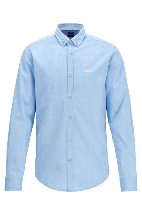 Regular-fit shirt in stretch cotton with moisture management, Blue
