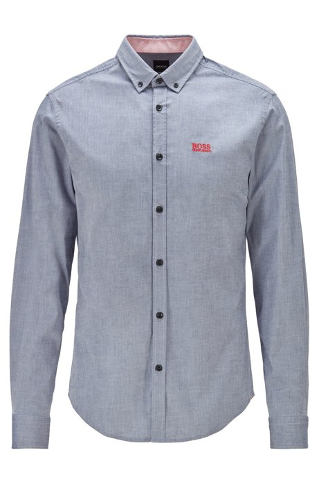 Regular-fit shirt in stretch cotton with moisture management, Grey
