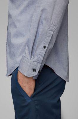 NUOVO Hugo Boss Da Uomo Blu A Pois Slim Fit Tuta Cotone Smart Formale Camicia 15 38