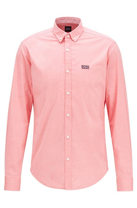 Regular-fit shirt in stretch cotton with moisture management, Pink