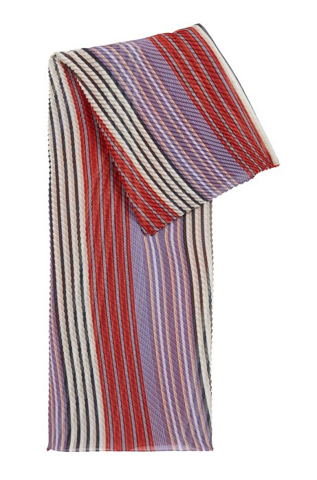 Plissé scarf with multi-coloured stripes, Patterned