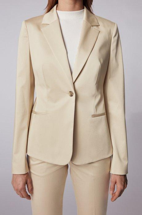 Regular-fit jacket in stretch-cotton satin, Beige
