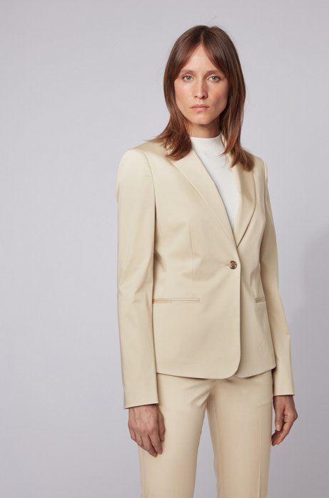 Veste Regular Fit en satin de coton stretch, Beige