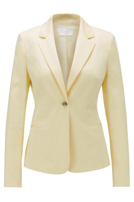 Chaqueta regular fit de satén de algodón elástico, Amarillo claro