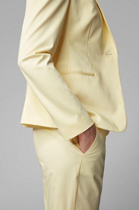 Veste Regular Fit en satin de coton stretch, Jaune clair