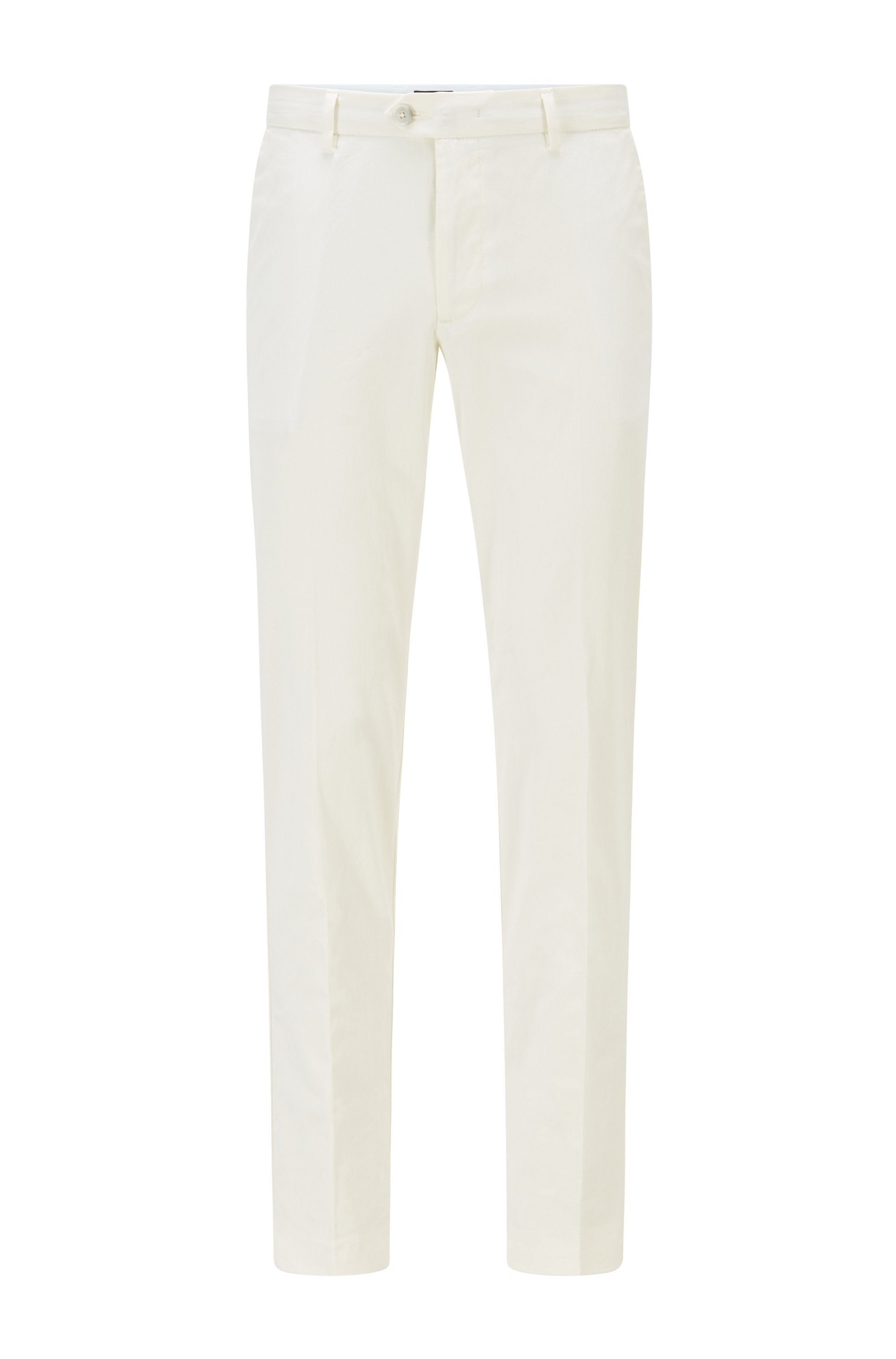 Slim-fit trousers in stretch cotton with silk, White