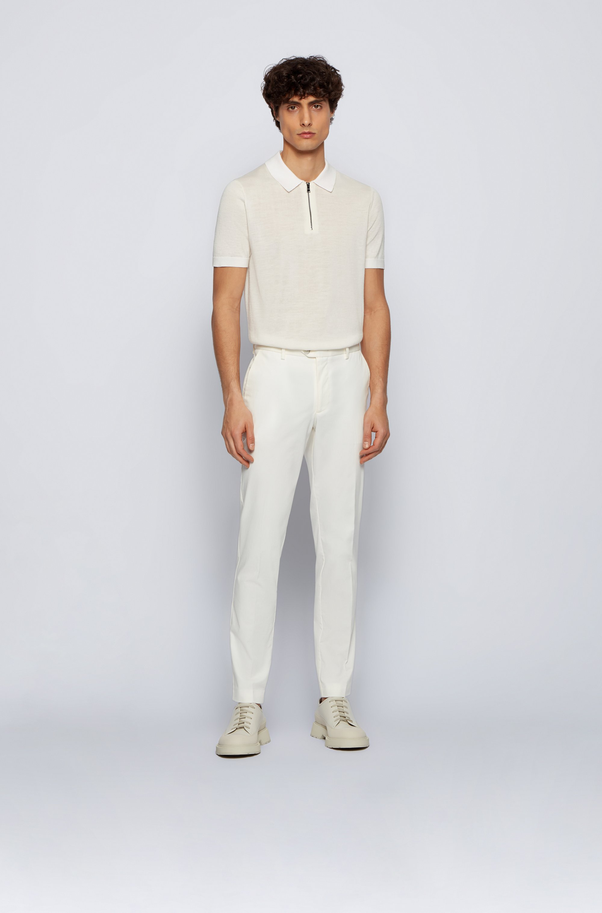 Slim-fit trousers in stretch cotton with silk