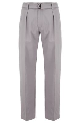 Relaxed-fit trousers in Italian stretch-cotton twill, Silver