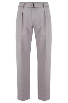 Relaxed-fit broek in Italiaanse twill van stretchkatoen, Zilver