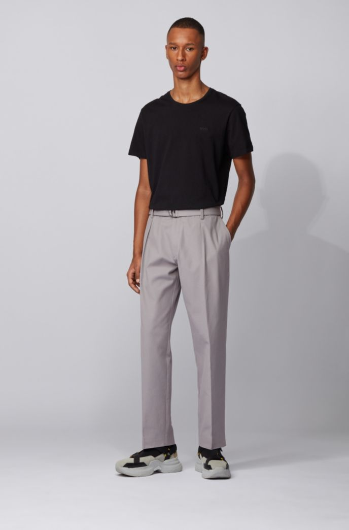 Pantalon Relaxed Fit en twill de coton stretch italien