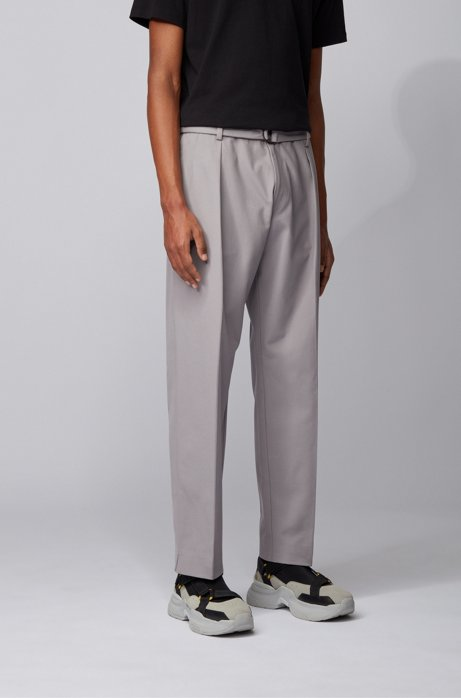 Pantalon Relaxed Fit en twill de coton stretch italien, Argent