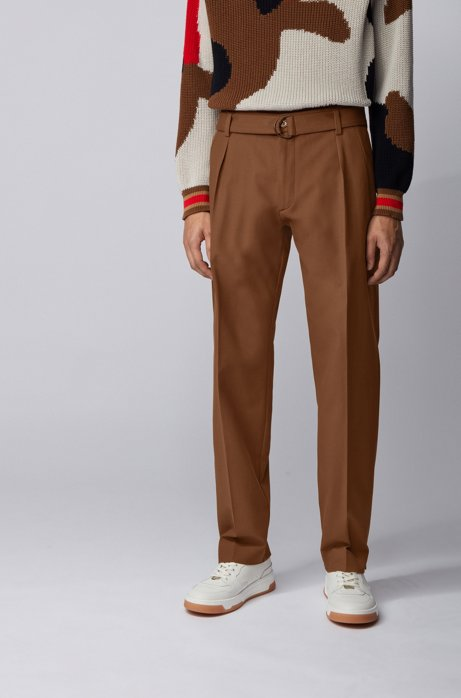 Relaxed-fit trousers in Italian stretch-cotton twill, Dark Brown