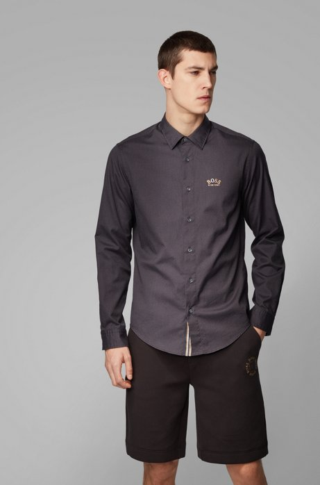 Regular-fit shirt in stretch cotton with colourful curved logo, Black