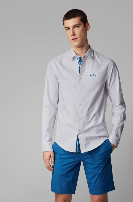 Regular-fit shirt in stretch cotton with colourful curved logo, White