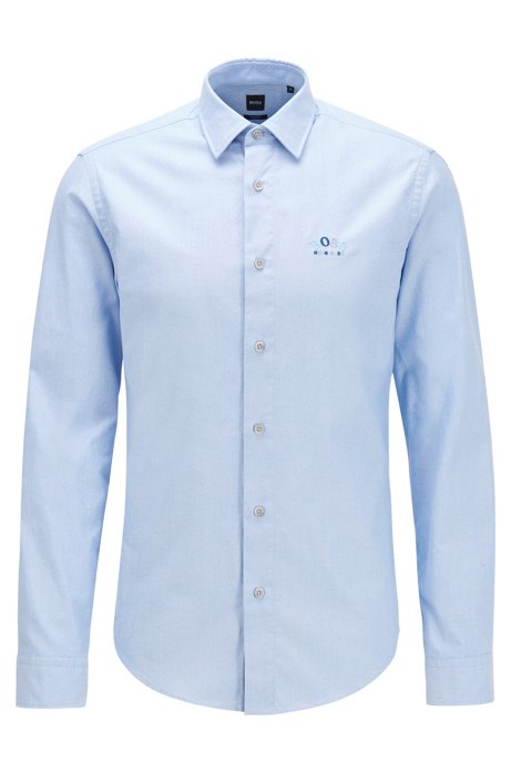 Regular-fit shirt in stretch cotton with colourful curved logo, Blue