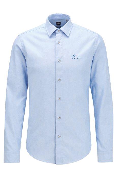 Regular-fit overhemd van stretchkatoen met kleurrijk gebogen logo, Blauw