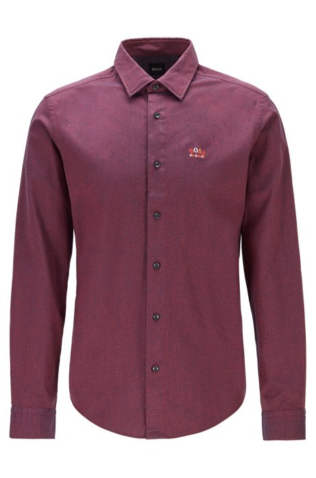 Regular-fit shirt in stretch cotton with colourful curved logo, Red