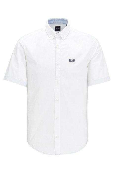 Regular-fit overhemd van vochtafvoerende stretchkatoen, Wit