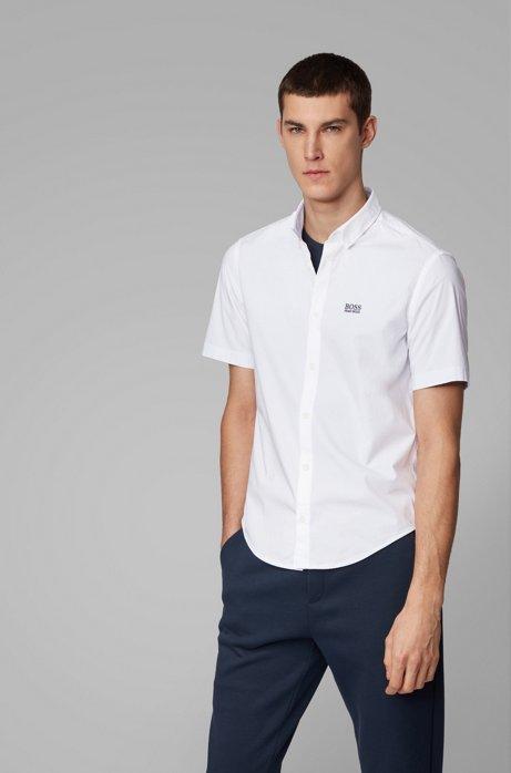 Regular-Fit Hemd aus feuchtigkeitsableitender Stretch-Baumwolle, Weiß