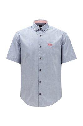 Regular-Fit Hemd aus feuchtigkeitsableitender Stretch-Baumwolle, Blau
