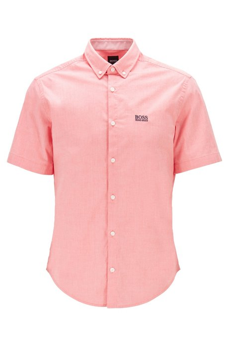 Regular-fit shirt in moisture-wicking stretch cotton, Pink