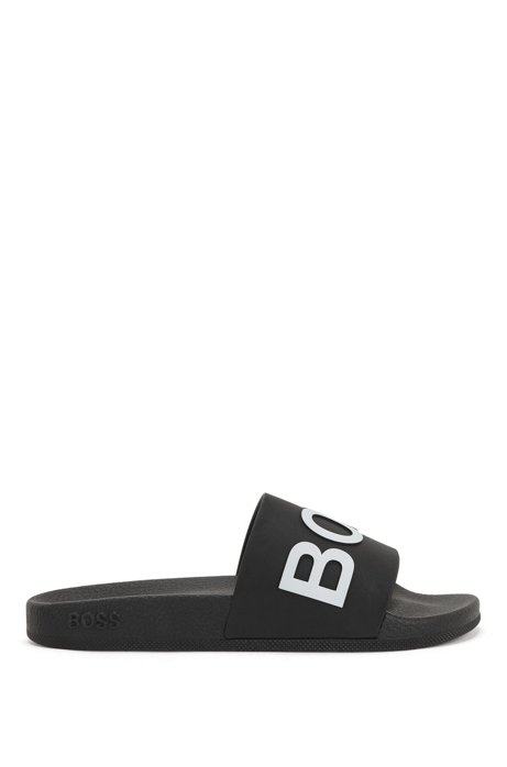 Logo-strap slides with moulded footbed, Black