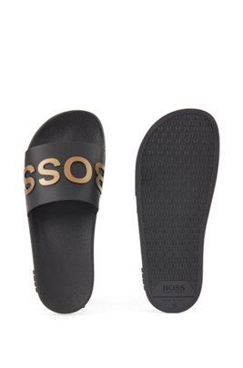 Logo-strap slides with moulded footbed, Gold