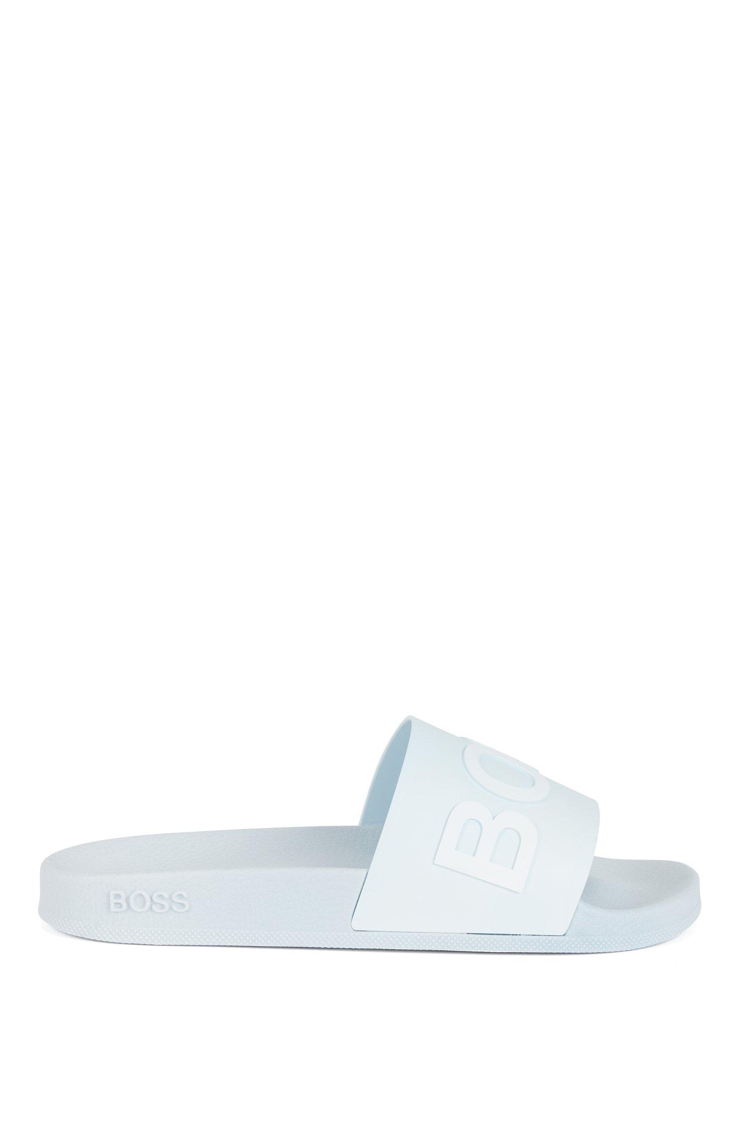 Logo-strap slides with moulded footbed, Light Blue