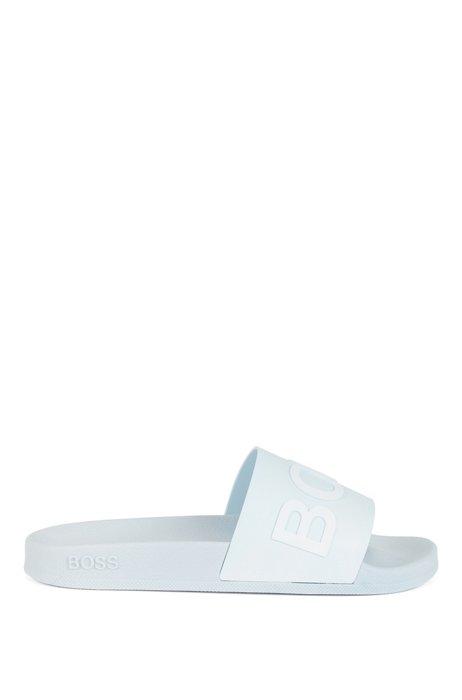 Slippers met logoband en gegoten voetbed, Lichtblauw