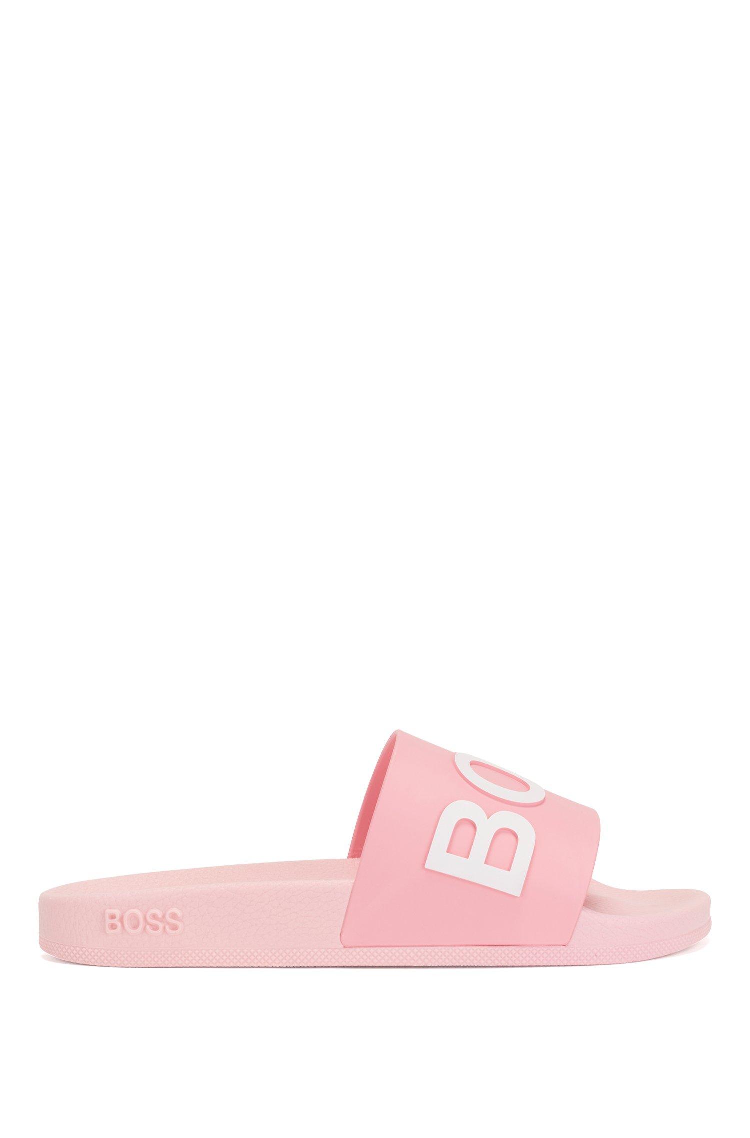 Logo-strap slides with moulded footbed, Pink